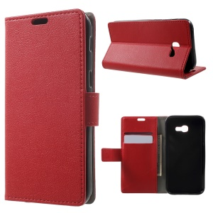 Leather Stand Phone Case with Card Slots for Samsung Galaxy A5 (2017) - Red