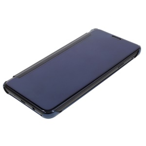 Plated Mirror Surface Plastic Leather Flip Cover for Samsung Galaxy On5 2016/J5 Prime - Dark Blue