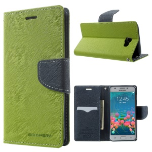 MERCURY GOOSPERY Fancy Diary Leather Stand Cover for Samsung Galaxy J5 Prime/On5 2016 - Green