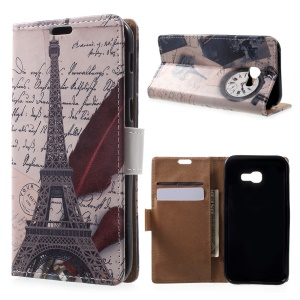 Patterned Leather Wallet Case for Samsung Galaxy A3 (2017) - Eiffel Tower and Feather