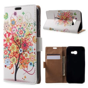 Patterned Card Holder Leather Phone Shell for Samsung Galaxy A3 (2017) - Flowered Tree