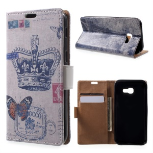 Patterned Leather Wallet Case for Samsung Galaxy A5 (2017) - Crown and Butterfly