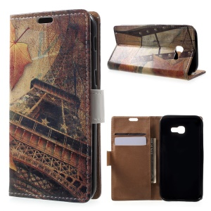 Patterned Leather Wallet Case for Samsung Galaxy A5 (2017) - Maple and Eiffel Tower
