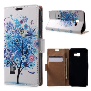 Patterned Leather Wallet Case for Samsung Galaxy A5 (2017) - Blue Tree & Bird Cage