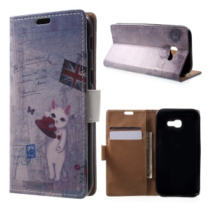 Patterned Leather Wallet Case for Samsung Galaxy A5 (2017) - Cat Playing with Hat