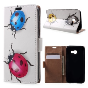 Patterned Leather Wallet Case for Samsung Galaxy A5 (2017) - Colorized Ladybugs