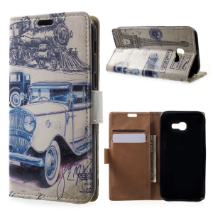 Patterned Leather Wallet Case for Samsung Galaxy A5 (2017) - Retro Car