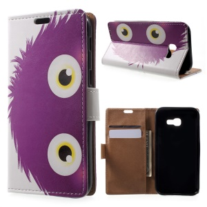 Patterned Leather Wallet Case for Samsung Galaxy A5 (2017) - Purple Hairy Doll