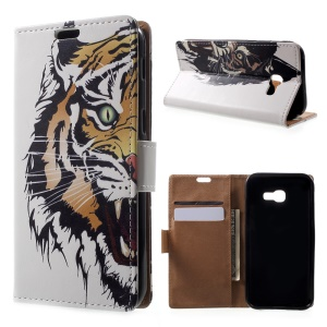 Patterned Leather Wallet Case for Samsung Galaxy A5 (2017) - Fierce Tiger