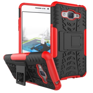 Tyre Pattern PC + TPU Hybrid Phone Shell for Samsung Galaxy J2 Prime with Kickstand - Red