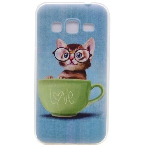 Pattern Printing TPU Cell Phone Case for Samsung Galaxy J3 (2016) J310 / J3 - Cat in the Cup
