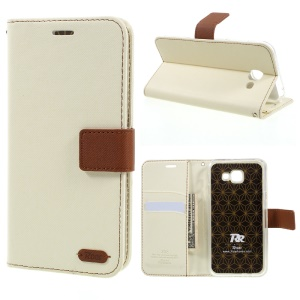 ROAR KOREA Twill Grain Leather Wallet Cover for Samsung Galaxy A8 (2016) - White
