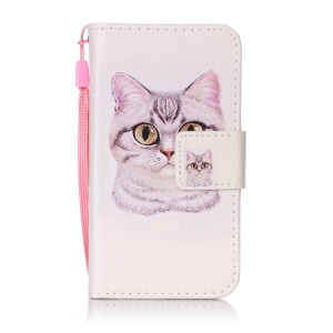 Pattern Design Wallet Leather Cell Phone Case for Samsung Galaxy J1 mini - Cute Cat