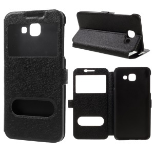 Silk Texture Dual View Window Leather Case for Samsung Galaxy A8 (2016) - Black
