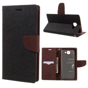 MERCURY GOOSPERY Fancy Diary Leather Case for Samsung Galaxy A8 (2016) A810 - Brown / Black