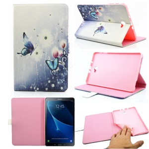 Crystal Patterned Leather Case for Samsung Galaxy Tab A 10.1 (2016) T580 T585 - Butterflies & Flowers