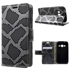 Snake Skin Leather Wallet Stand Case for Samsung Galaxy J1 mini prime - Grey