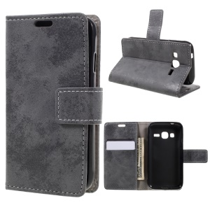 Retro Leather Wallet Stand Phone Case for Samsung Galaxy J1 mini prime - Grey