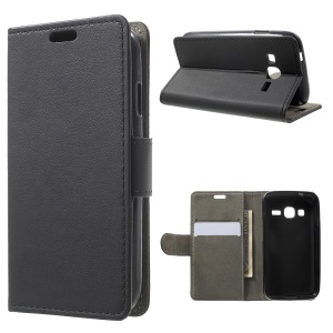 Faux Leather Wallet Stand Cell Phone Case for Samsung Galaxy J1 Mini Prime - Black