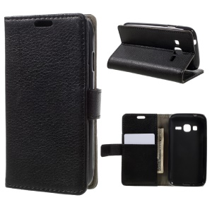Lychee Skin Wallet Leather Stand Case for Samsung Galaxy J1 mini prime - Black