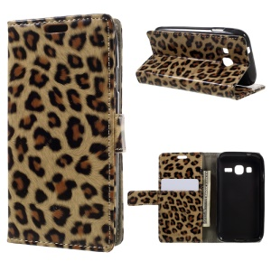Leopard Pattern Leather Wallet Stand Case for Samsung Galaxy J1 mini prime