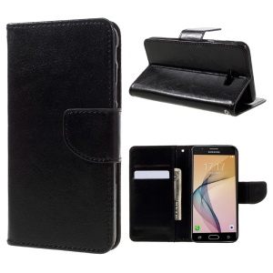 Crazy Horse Leather Wallet Case for Samsung Galaxy On5 2016/J5 Prime - Black