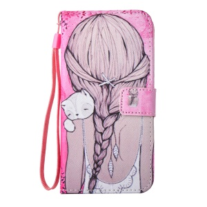 For Samsung Galaxy S6 Edge G925 Patterned Stand Leather Wallet Shell - Girl Hugging A Cat