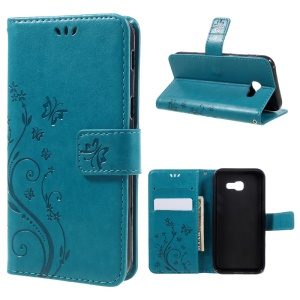 Butterfly Flowers Wallet Leather Stand Case for Samsung Galaxy A3 (2017) - Blue