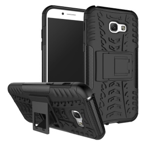 Anti-slip PC + TPU Hybrid Case with Kickstand for Samsung Galaxy A5 (2017) - Black