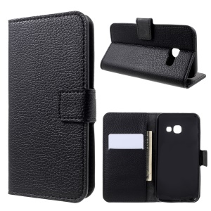 Litchi Grain Leather Wallet Phone Stand Case for Samsung Galaxy A3 (2017) - Black