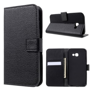 Flip Stand Magnetic Leather Wallet Phone Case for Samsung Galaxy A5 (2017) Litchi Texture - Black
