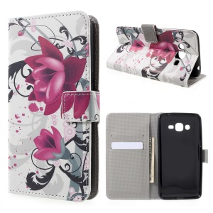 Pattern Printing Leather Phone Case for Samsung Galaxy J2 Prime - Kapok Flowers