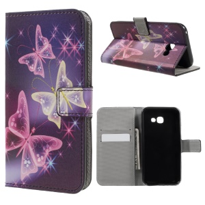 Patterned Leather Wallet Flip Cover for Samsung Galaxy A3 (2017) - Shiny Colorful Butterflies