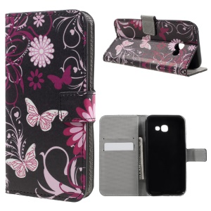 Patterned Leather Stand Phone Casing for Samsung Galaxy A3 (2017) - Butterfly and Flowers