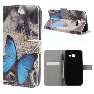 Patterned Leather Stand Mobile Case for Samsung Galaxy A3 (2017) - Blue Butterfly