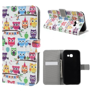 Patterned Leather Magentic Mobile Cover for Samsung Galaxy A3 (2017) - Adorable Owls
