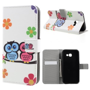 Patterned Leather Wallet Protector Case for Samsung Galaxy A3 (2017) - Cute Owls and Flower