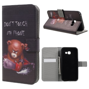 Patterned Leather Wallet Case for Samsung Galaxy A5 (2017) - Cool Bear and Warning