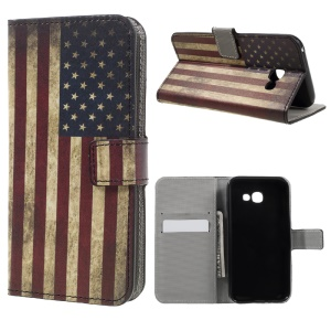 Wallet Leather Patterned Case for Samsung Galaxy A5 (2017) - Retro the Old Glory