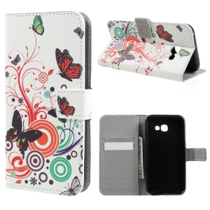 Patterned Leather Wallet Phone Case for Samsung Galaxy A5 (2017) - Butterflies and Circles