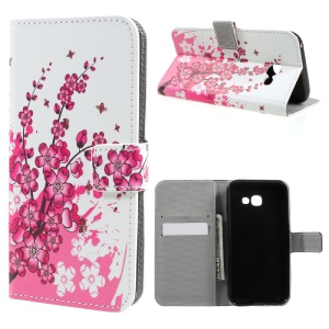 Pattern Printing Leather Flip Case for Samsung Galaxy A5 (2017) - Plum Flowers