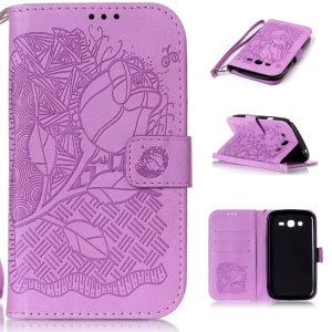 Imprint Pattern Leather Wallet Phone Shell for Samsung Galaxy Grand I9082/I9080/Grand Neo I9060 I9062 - Rose Bud / Purple