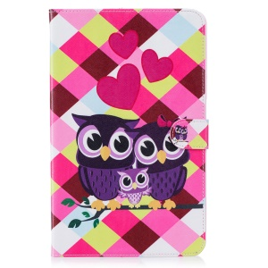 For Samsung Galaxy Tab A 10.1 (2016) T580 T585 Illustration Leather Wallet Case - Owl Family