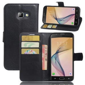 Litchi Grain Leather Wallet Stand Case for Samsung Galaxy A5 (2017) - Black