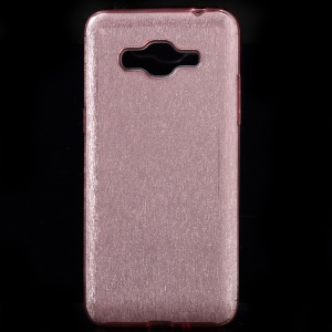 Glittery Paper TPU + PC Cell Phone Case for Samsung Galaxy J2 Prime - Pink