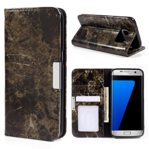 Marble Texture Leather Wallet Phone Cover for Samsung Galaxy S7 edge G935 - Black