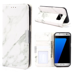 Marble Texture Leather Wallet Case Accessory for Samsung Galaxy S7 edge G935 - Grey