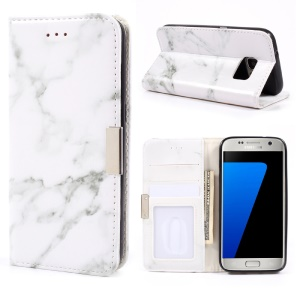 Marble Design Wallet Leather Mobile Shell for Samsung Galaxy S7 G930 - Grey