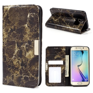 Marble Texture Leather Wallet Phone Casing para Samsung Galaxy S6 Edge G925 - negro