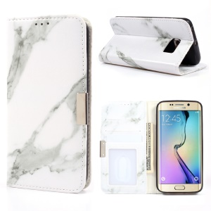 Marble Texture Leather Stand Flip Cover for Samsung Galaxy S6 Edge G925 - Grey